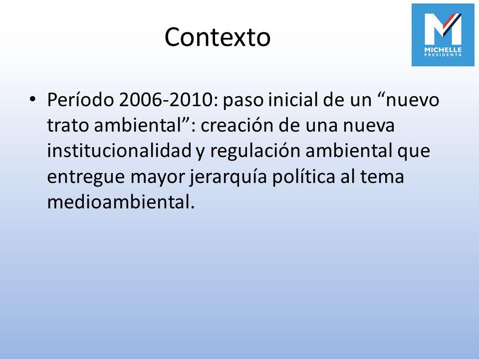 Contexto Período 2006-2010: paso inicial de un nuevo trato ambiental: creación de una nueva institucionalidad y regulación ambiental que entregue mayo
