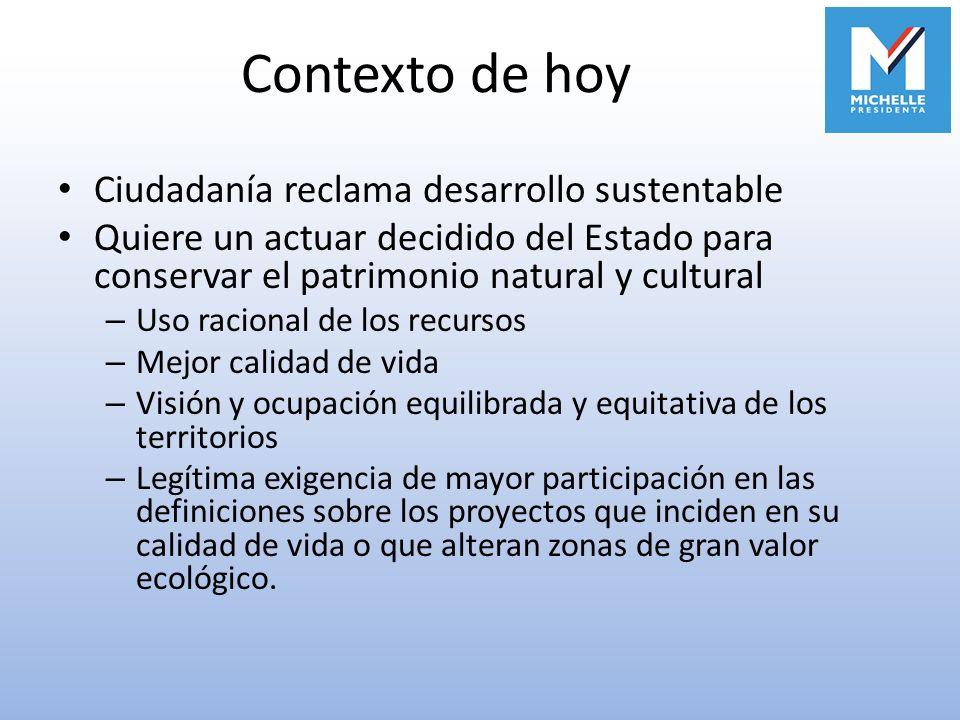 Contexto de hoy Ciudadanía reclama desarrollo sustentable Quiere un actuar decidido del Estado para conservar el patrimonio natural y cultural – Uso r
