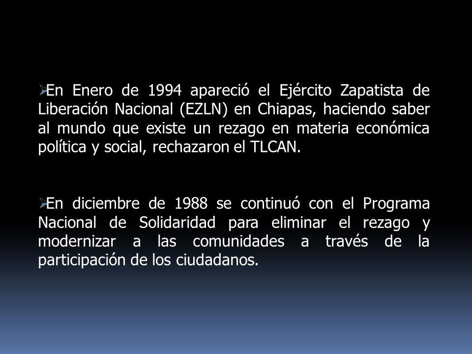 En Enero de 1994 apareció el Ejército Zapatista de Liberación Nacional (EZLN) en Chiapas, haciendo saber al mundo que existe un rezago en materia econ