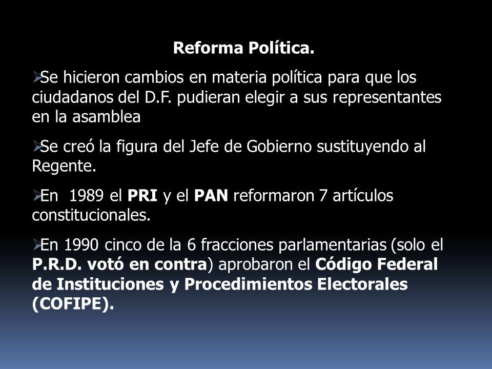 Reforma Política. Se hicieron cambios en materia política para que los ciudadanos del D.F. pudieran elegir a sus representantes en la asamblea Se creó