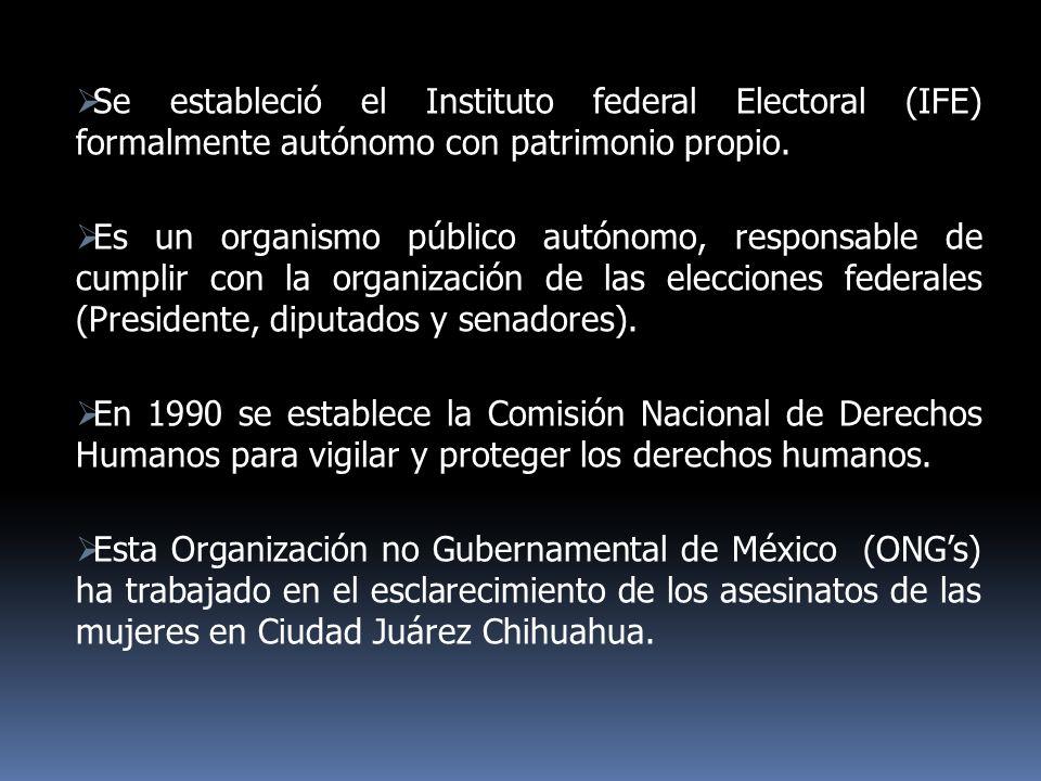 Se estableció el Instituto federal Electoral (IFE) formalmente autónomo con patrimonio propio. Es un organismo público autónomo, responsable de cumpli