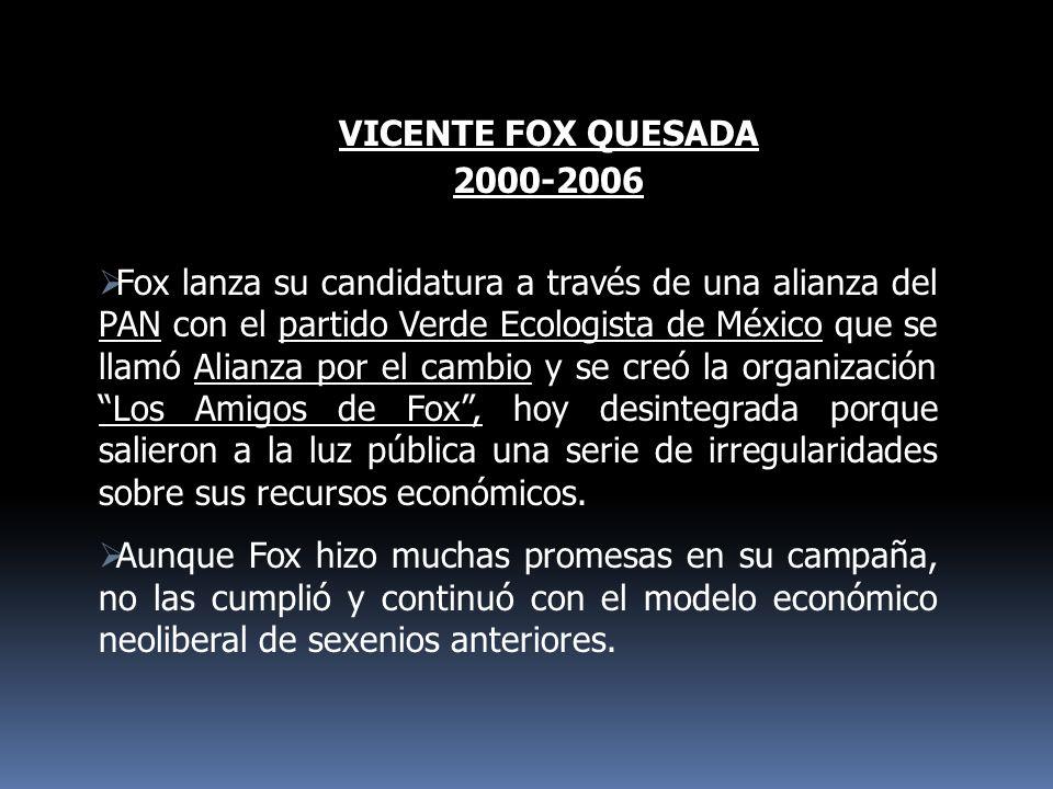 VICENTE FOX QUESADA 2000-2006 Fox lanza su candidatura a través de una alianza del PAN con el partido Verde Ecologista de México que se llamó Alianza