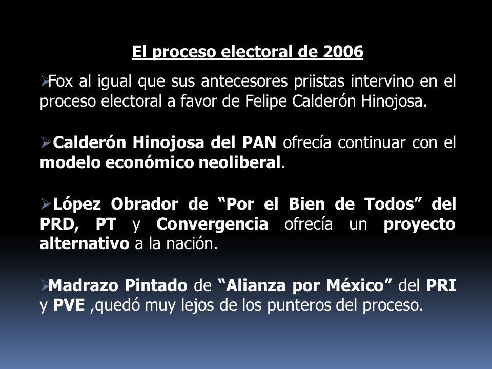 El proceso electoral de 2006 Fox al igual que sus antecesores priistas intervino en el proceso electoral a favor de Felipe Calderón Hinojosa. Calderón