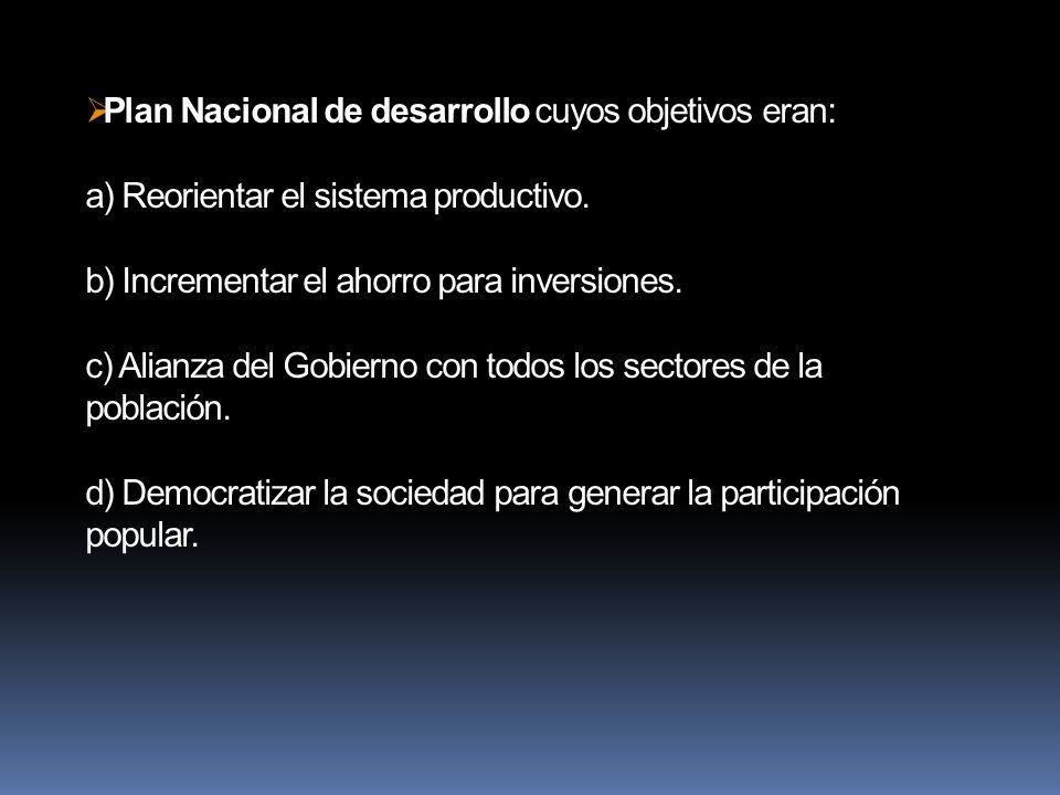 Plan Nacional de desarrollo cuyos objetivos eran: a) Reorientar el sistema productivo. b) Incrementar el ahorro para inversiones. c) Alianza del Gobie