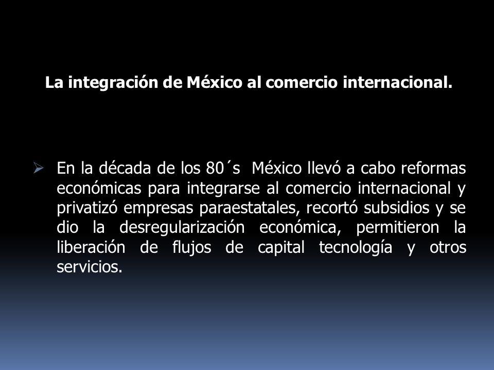 La integración de México al comercio internacional. En la década de los 80´s México llevó a cabo reformas económicas para integrarse al comercio inter
