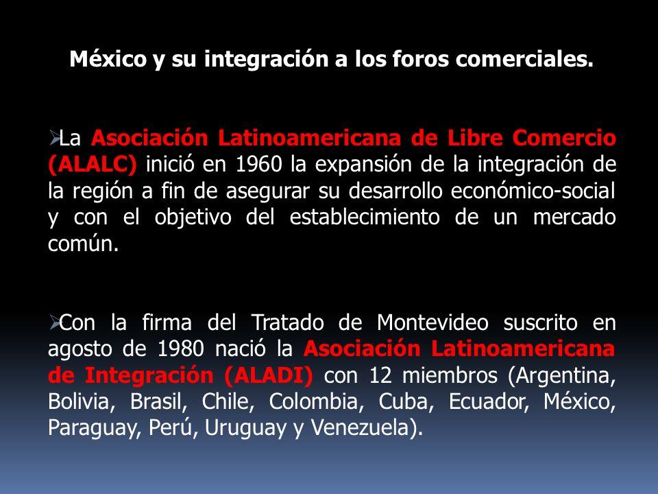 México y su integración a los foros comerciales. La Asociación Latinoamericana de Libre Comercio (ALALC) inició en 1960 la expansión de la integración