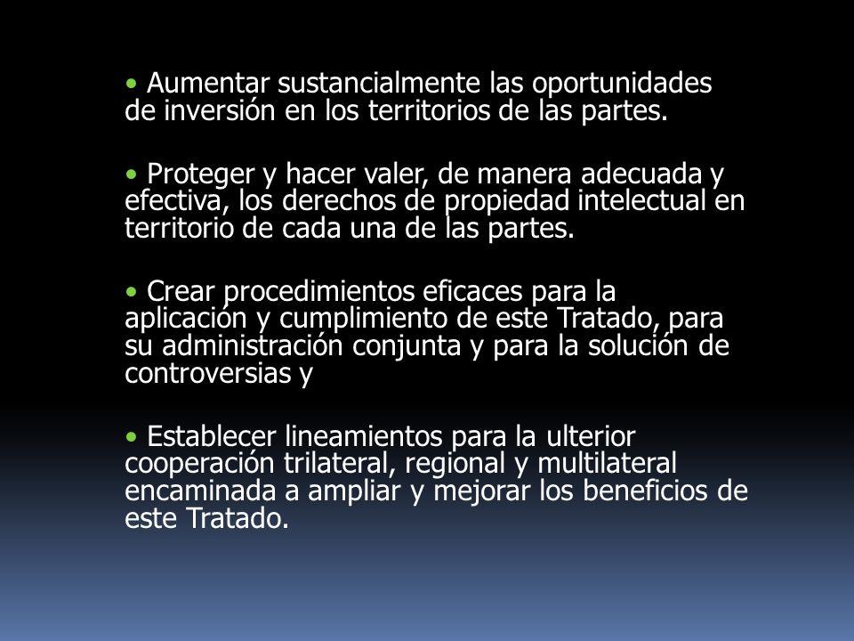 Aumentar sustancialmente las oportunidades de inversión en los territorios de las partes. Proteger y hacer valer, de manera adecuada y efectiva, los d