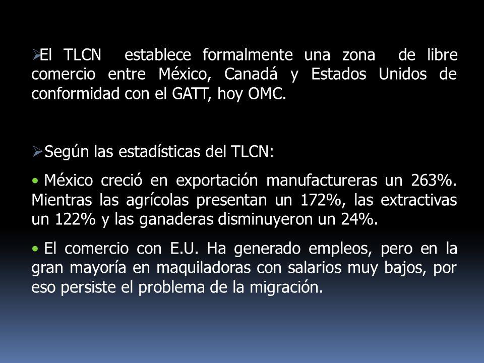 El TLCN establece formalmente una zona de libre comercio entre México, Canadá y Estados Unidos de conformidad con el GATT, hoy OMC. Según las estadíst