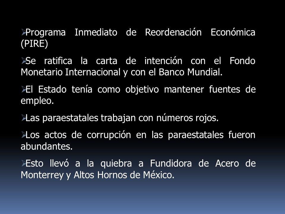 Programa Inmediato de Reordenación Económica (PIRE) Se ratifica la carta de intención con el Fondo Monetario Internacional y con el Banco Mundial. El