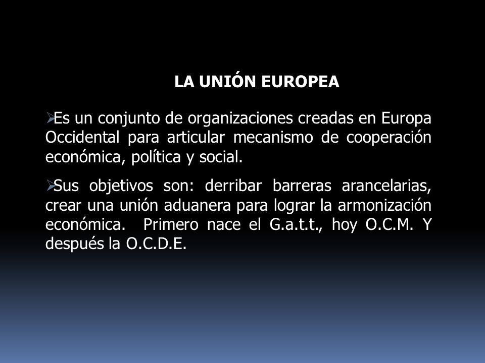 LA UNIÓN EUROPEA Es un conjunto de organizaciones creadas en Europa Occidental para articular mecanismo de cooperación económica, política y social. S