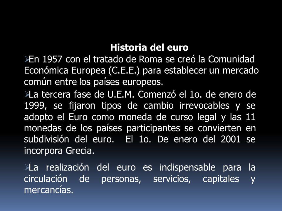 La tercera fase de U.E.M. Comenzó el 1o. de enero de 1999, se fijaron tipos de cambio irrevocables y se adopto el Euro como moneda de curso legal y la