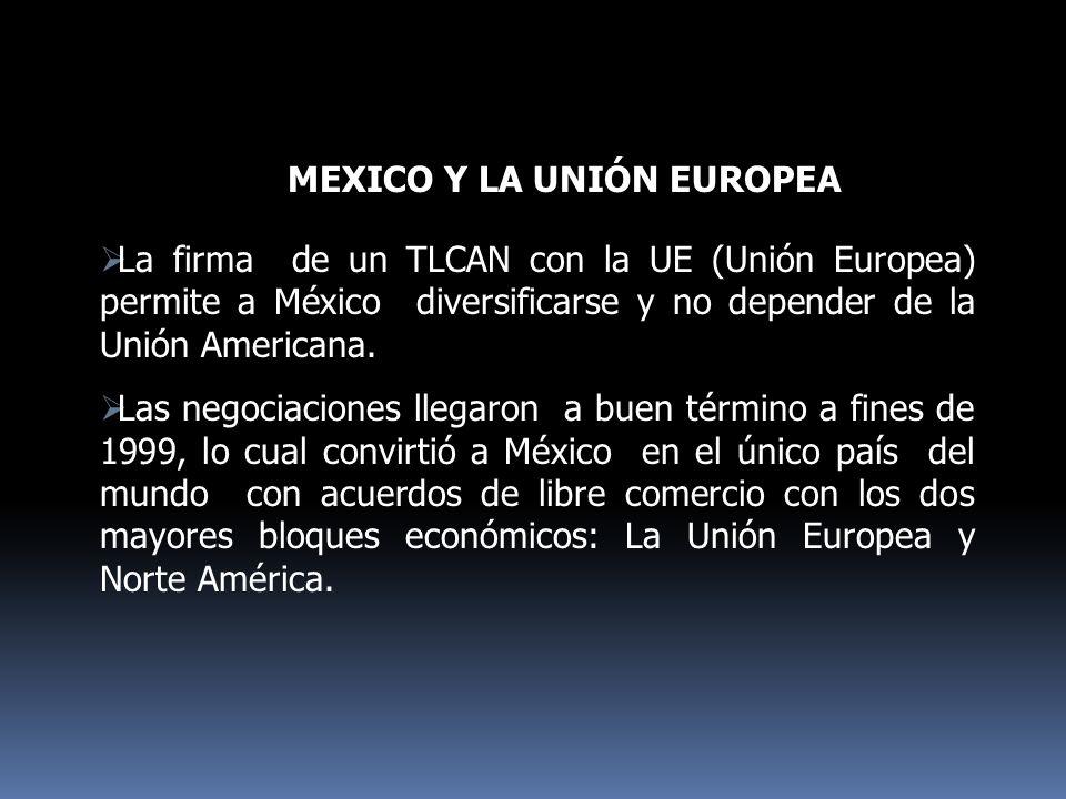 La firma de un TLCAN con la UE (Unión Europea) permite a México diversificarse y no depender de la Unión Americana. Las negociaciones llegaron a buen