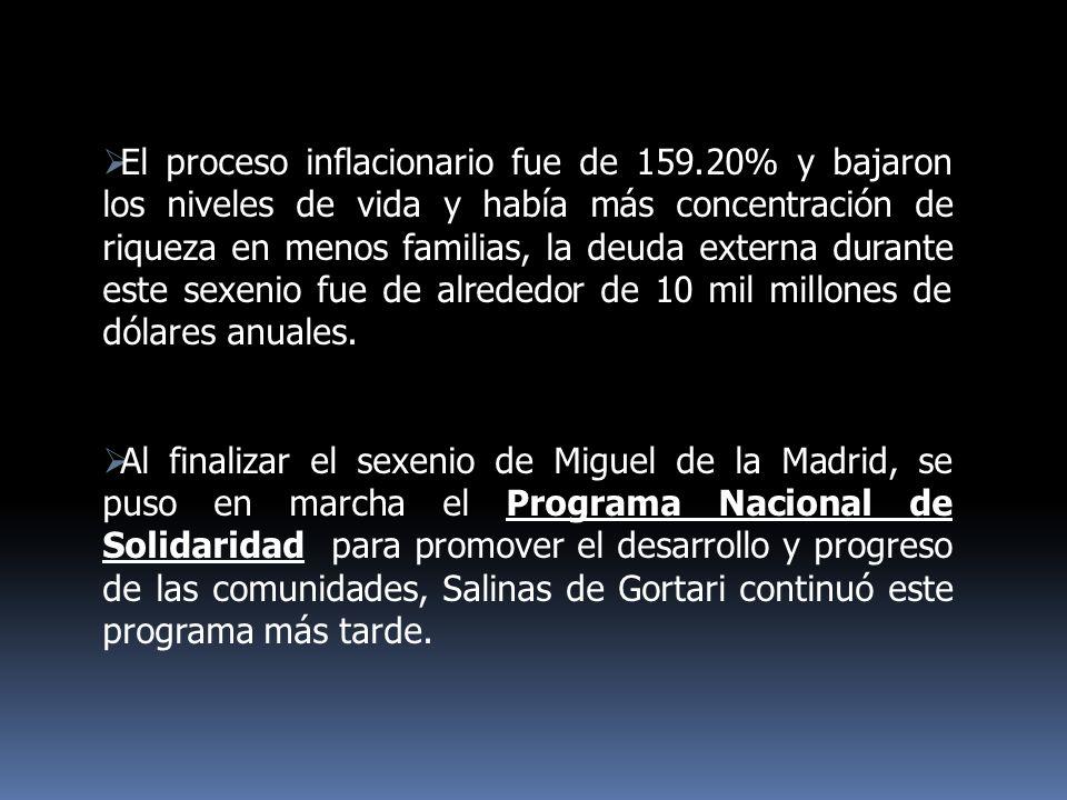 POLÍTICA AGRARIA Programa Nacional de Alimentación (PRONAL) Programa de Desarrollo Rural Integral (PRONADRI) Reactivó la Compañía Nacional de Subsistencias Populares (CONASUPO)