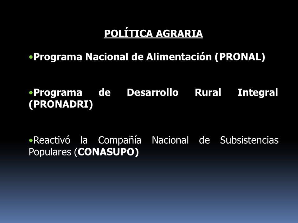 POLÍTICA AGRARIA Programa Nacional de Alimentación (PRONAL) Programa de Desarrollo Rural Integral (PRONADRI) Reactivó la Compañía Nacional de Subsiste