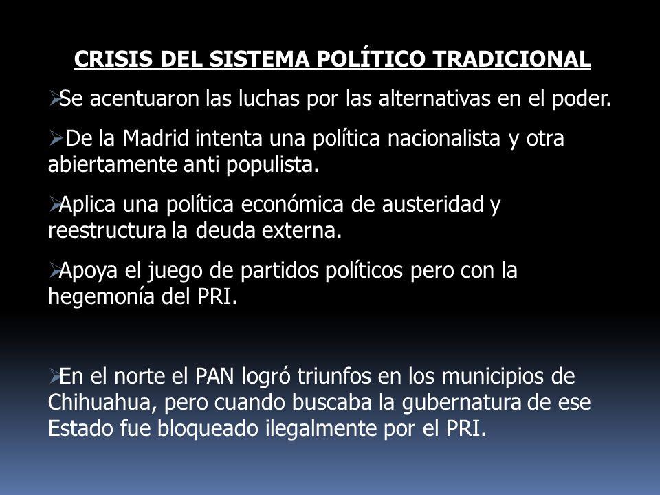 CRISIS DEL SISTEMA POLÍTICO TRADICIONAL Se acentuaron las luchas por las alternativas en el poder. De la Madrid intenta una política nacionalista y ot