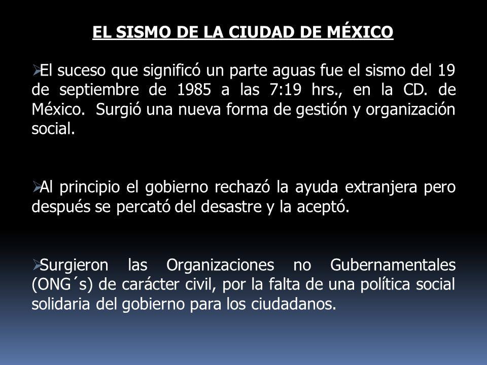 EL SISMO DE LA CIUDAD DE MÉXICO El suceso que significó un parte aguas fue el sismo del 19 de septiembre de 1985 a las 7:19 hrs., en la CD. de México.
