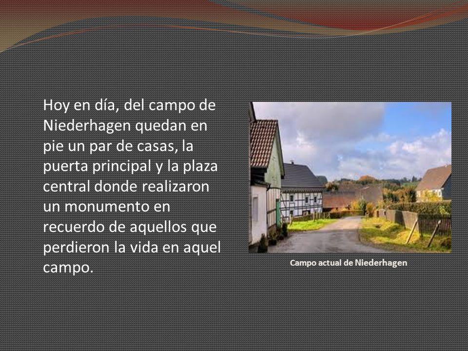 Campo actual de Niederhagen Hoy en día, del campo de Niederhagen quedan en pie un par de casas, la puerta principal y la plaza central donde realizaro