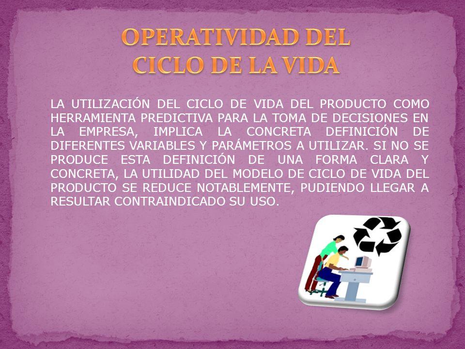 LA UTILIZACIÓN DEL CICLO DE VIDA DEL PRODUCTO COMO HERRAMIENTA PREDICTIVA PARA LA TOMA DE DECISIONES EN LA EMPRESA, IMPLICA LA CONCRETA DEFINICIÓN DE DIFERENTES VARIABLES Y PARÁMETROS A UTILIZAR.