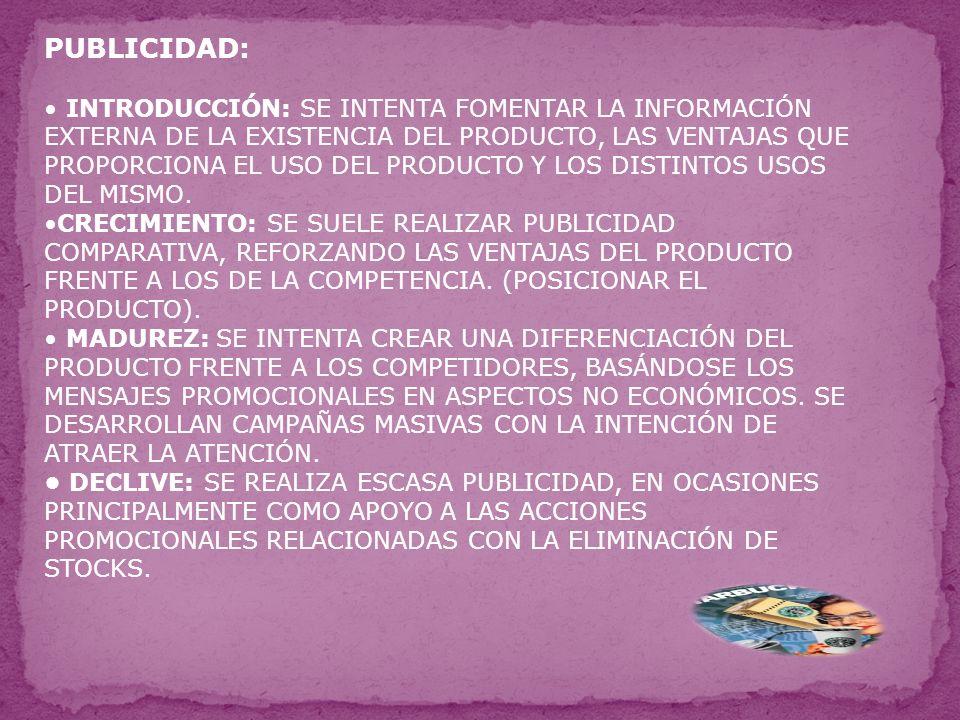 PUBLICIDAD: INTRODUCCIÓN: SE INTENTA FOMENTAR LA INFORMACIÓN EXTERNA DE LA EXISTENCIA DEL PRODUCTO, LAS VENTAJAS QUE PROPORCIONA EL USO DEL PRODUCTO Y LOS DISTINTOS USOS DEL MISMO.