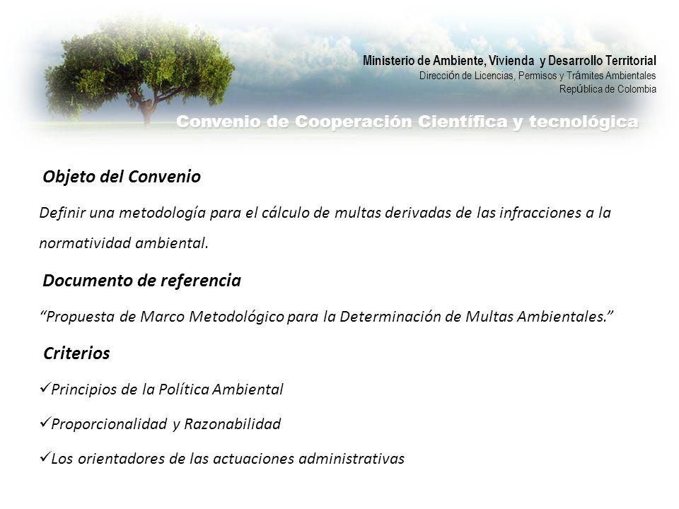 Objeto del Convenio Definir una metodología para el cálculo de multas derivadas de las infracciones a la normatividad ambiental. Documento de referenc