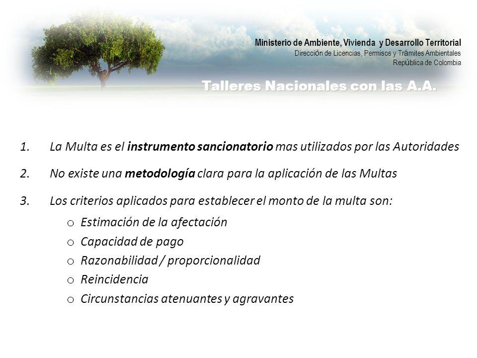 Ministerio de Ambiente, Vivienda y Desarrollo Territorial Direcci ó n de Licencias, Permisos y Tr á mites Ambientales Rep ú blica de Colombia Talleres