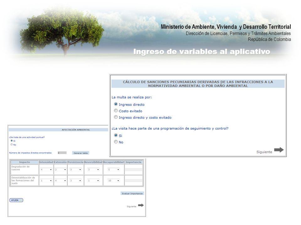 Ministerio de Ambiente, Vivienda y Desarrollo Territorial Direcci ó n de Licencias, Permisos y Tr á mites Ambientales Rep ú blica de Colombia Ingreso de variables al aplicativo