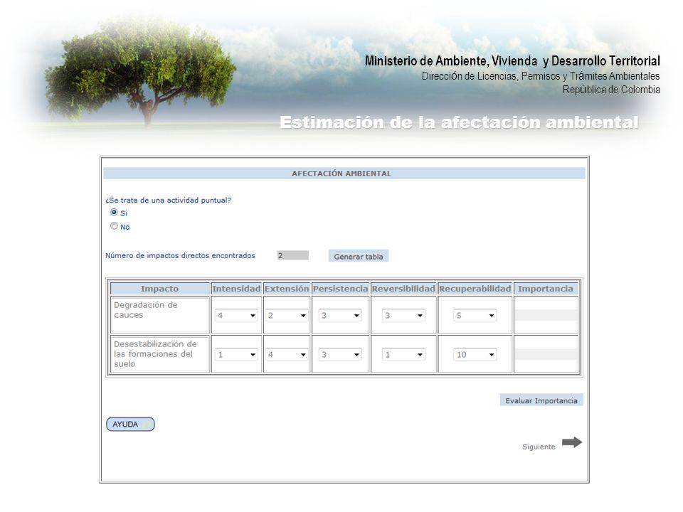 Ministerio de Ambiente, Vivienda y Desarrollo Territorial Direcci ó n de Licencias, Permisos y Tr á mites Ambientales Rep ú blica de Colombia Estimaci