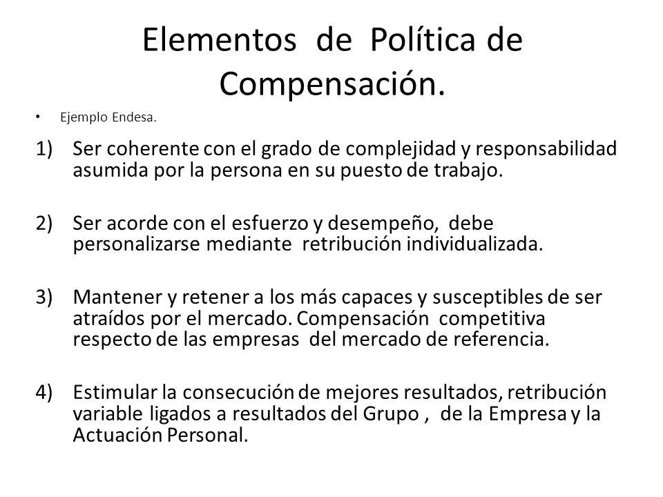 Elementos de Política de Compensación. Ejemplo Endesa. 1)Ser coherente con el grado de complejidad y responsabilidad asumida por la persona en su pues