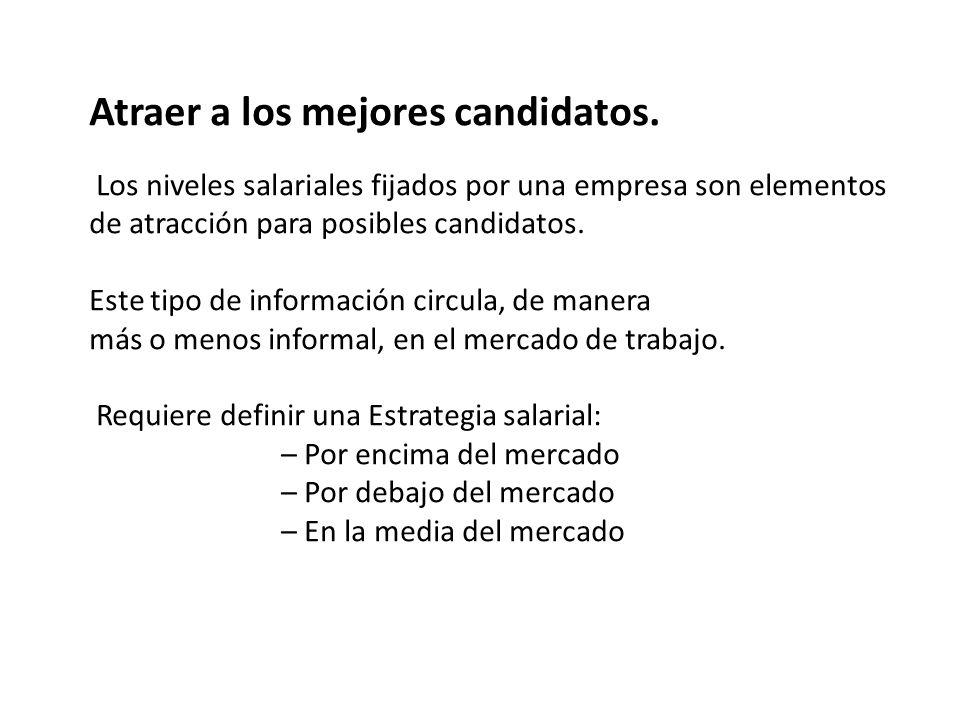 Atraer a los mejores candidatos. Los niveles salariales fijados por una empresa son elementos de atracción para posibles candidatos. Este tipo de info