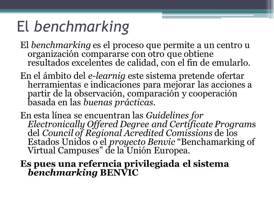 El benchmarking El benchmarking es el proceso que permite a un centro u organización compararse con otro que obtiene resultados excelentes de calidad, con el fin de emularlo.