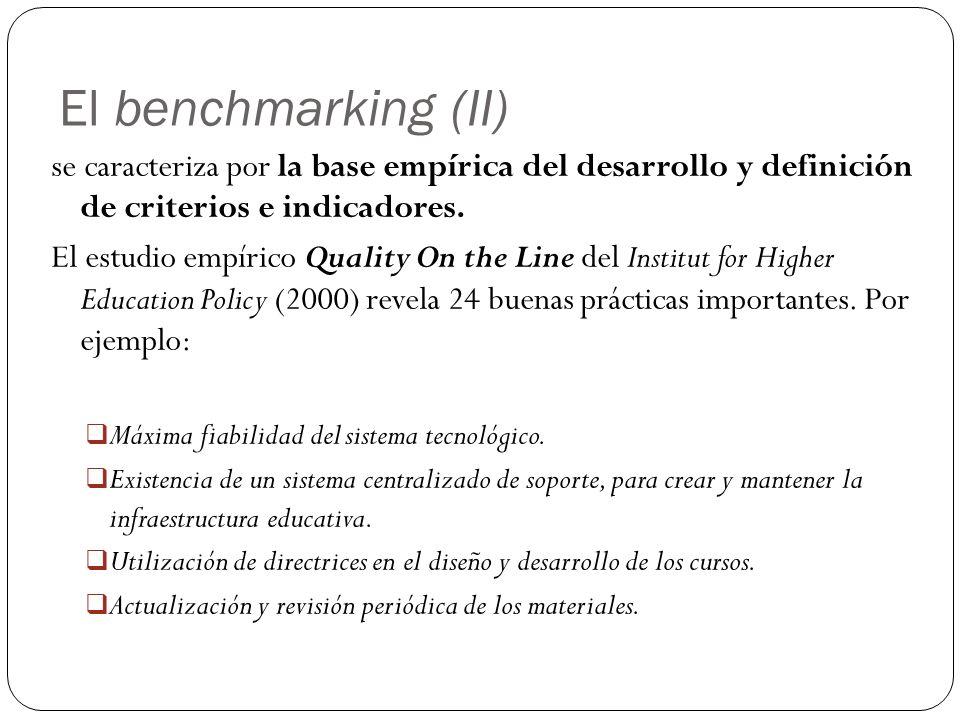El benchmarking (II) se caracteriza por la base empírica del desarrollo y definición de criterios e indicadores.
