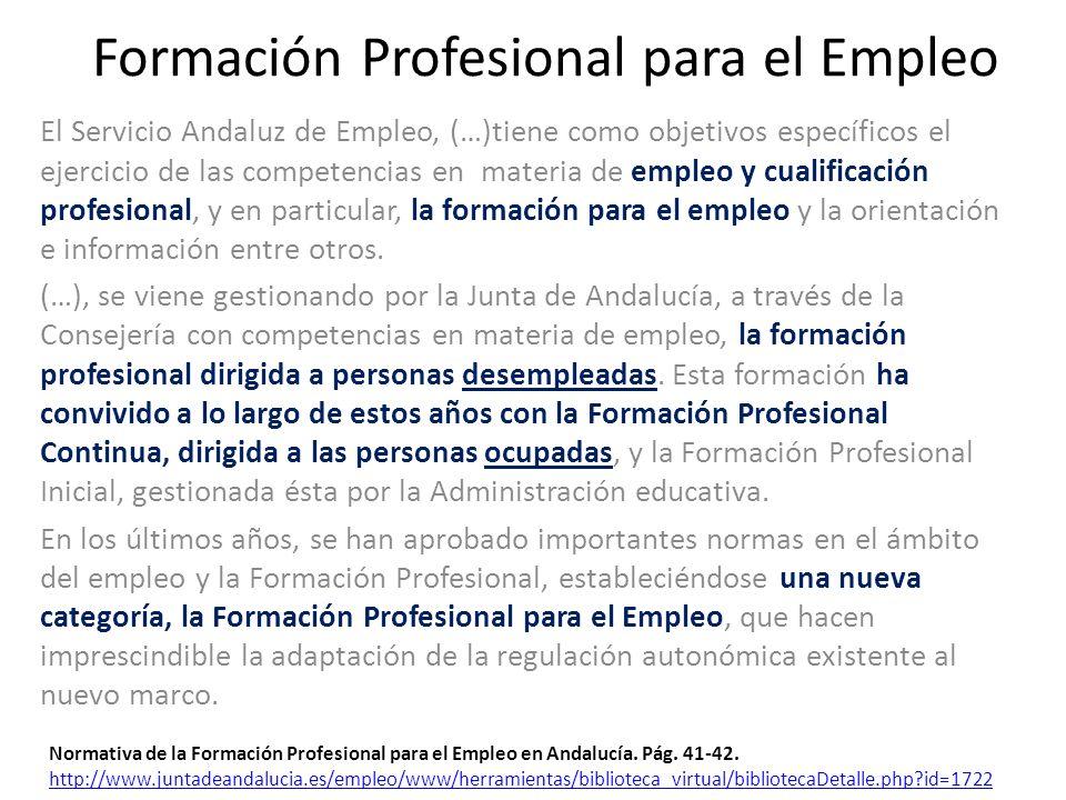Formación Profesional para el Empleo El Servicio Andaluz de Empleo, (…)tiene como objetivos específicos el ejercicio de las competencias en materia de empleo y cualificación profesional, y en particular, la formación para el empleo y la orientación e información entre otros.