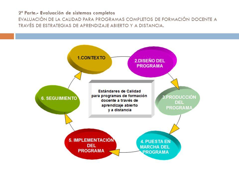2ª Parte.- Evaluación de sistemas completos EVALUACIÓN DE LA CALIDAD PARA PROGRAMAS COMPLETOS DE FORMACIÓN DOCENTE A TRAVÉS DE ESTRATEGIAS DE APRENDIZAJE ABIERTO Y A DISTANCIA.