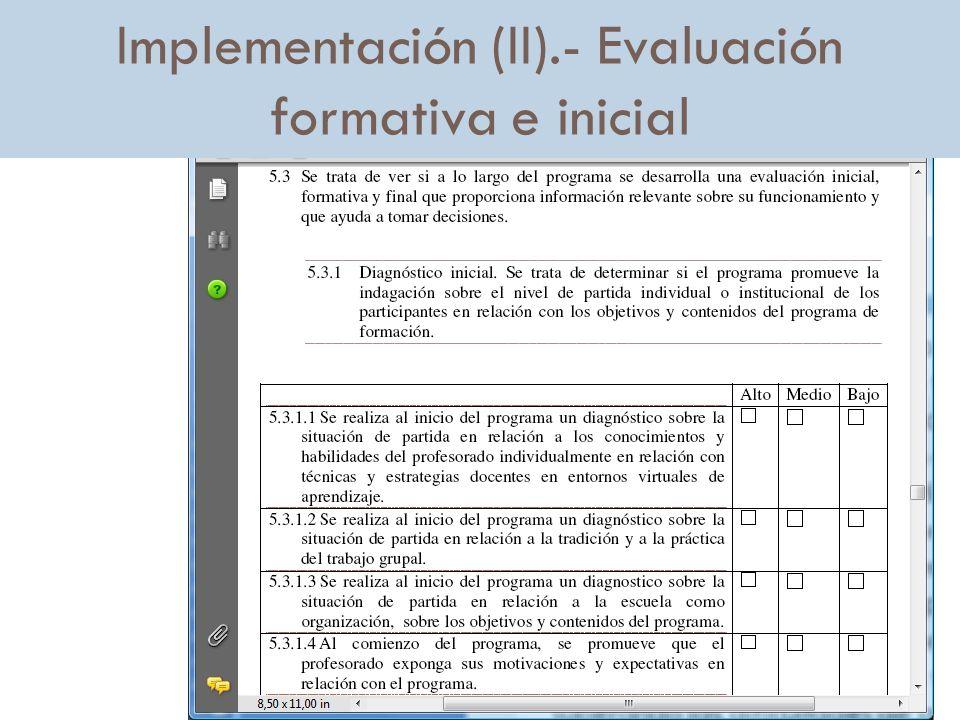 Implementación (II).- Evaluación formativa e inicial