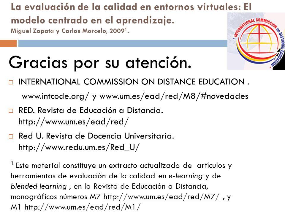 La evaluación de la calidad en entornos virtuales: El modelo centrado en el aprendizaje.
