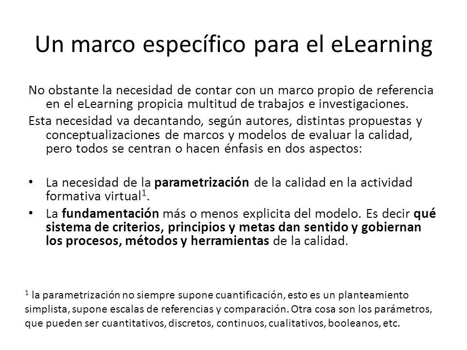 Un marco específico para el eLearning No obstante la necesidad de contar con un marco propio de referencia en el eLearning propicia multitud de trabajos e investigaciones.