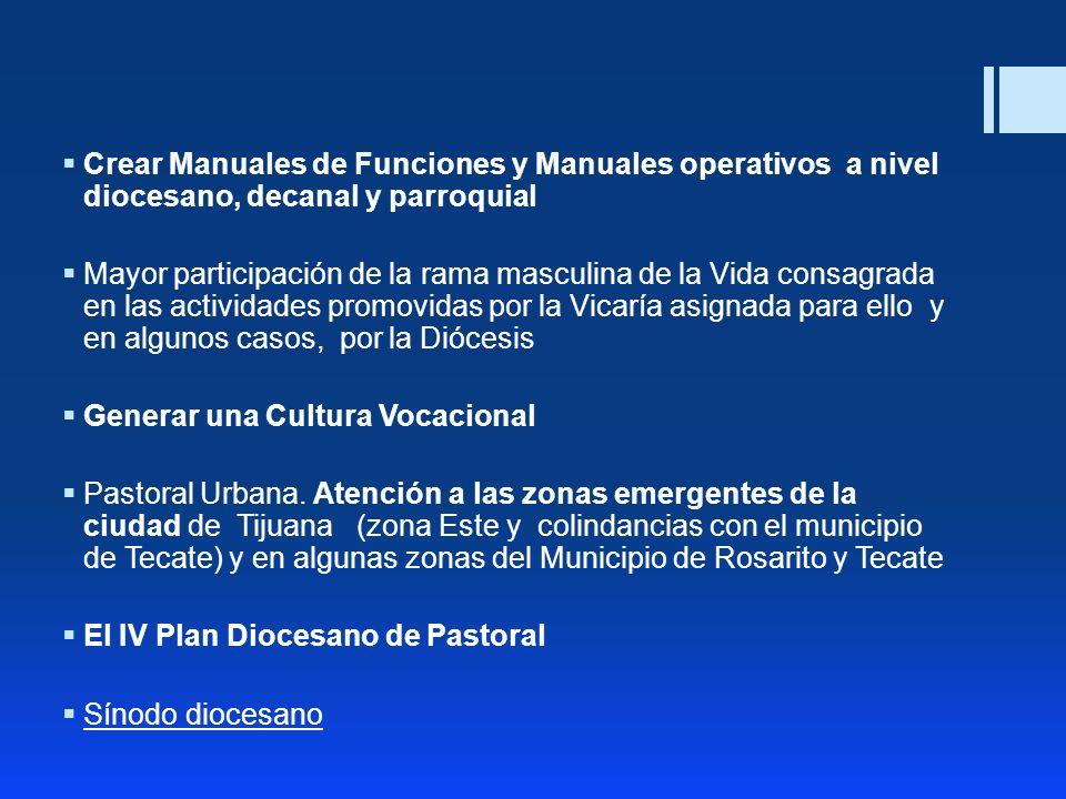 Crear Manuales de Funciones y Manuales operativos a nivel diocesano, decanal y parroquial Mayor participación de la rama masculina de la Vida consagra