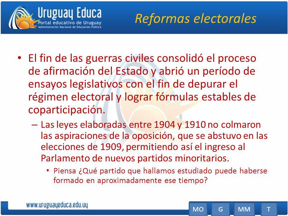 Reformas electorales El fin de las guerras civiles consolidó el proceso de afirmación del Estado y abrió un período de ensayos legislativos con el fin