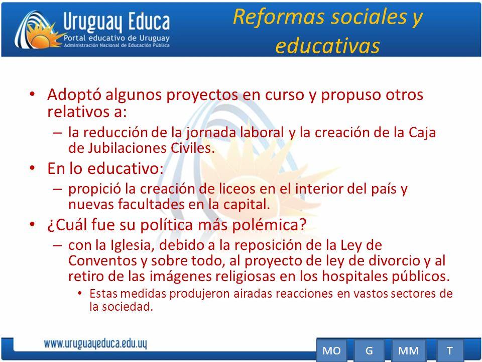 Reformas sociales y educativas Adoptó algunos proyectos en curso y propuso otros relativos a: – la reducción de la jornada laboral y la creación de la