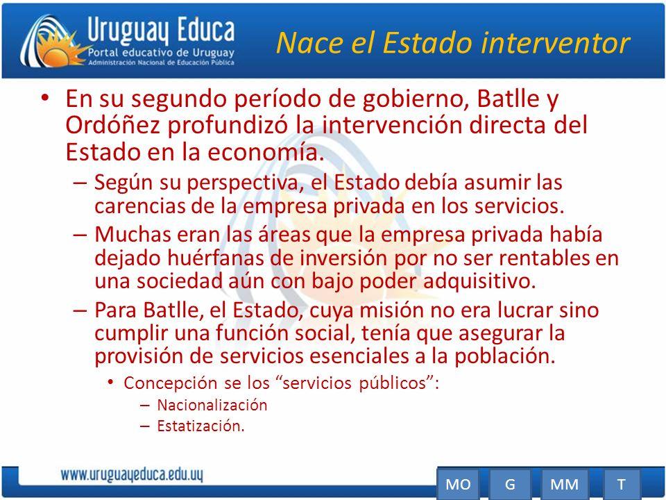 Nace el Estado interventor En su segundo período de gobierno, Batlle y Ordóñez profundizó la intervención directa del Estado en la economía. – Según s