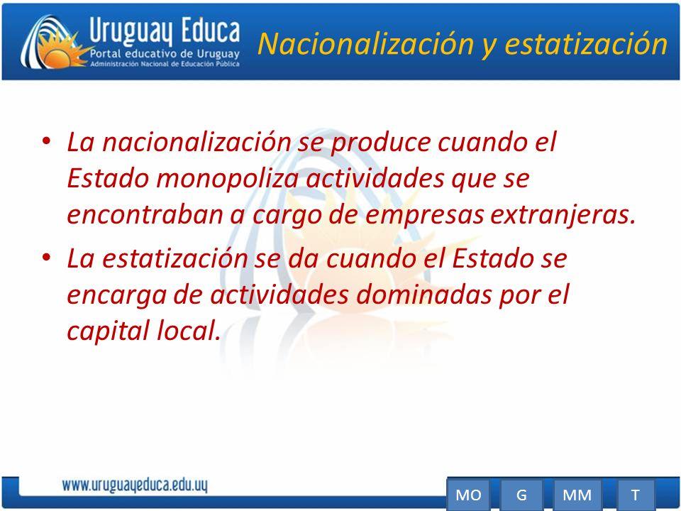 Nacionalización y estatización La nacionalización se produce cuando el Estado monopoliza actividades que se encontraban a cargo de empresas extranjera