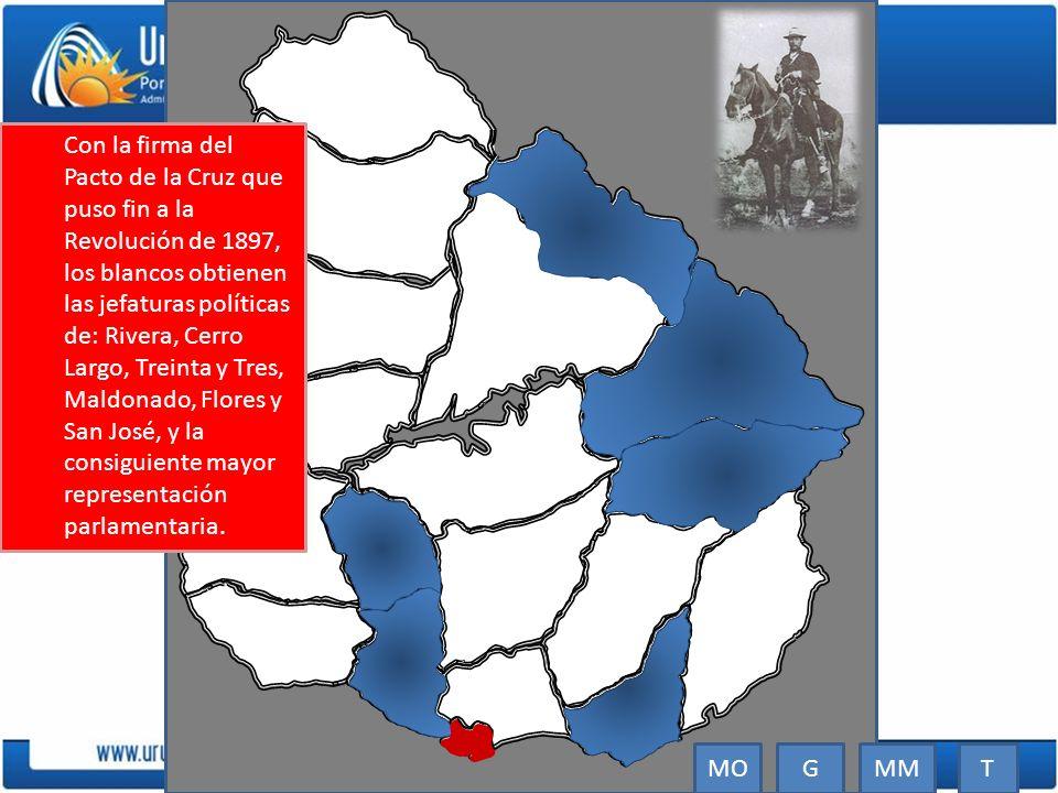 Con la firma del Pacto de la Cruz que puso fin a la Revolución de 1897, los blancos obtienen las jefaturas políticas de: Rivera, Cerro Largo, Treinta