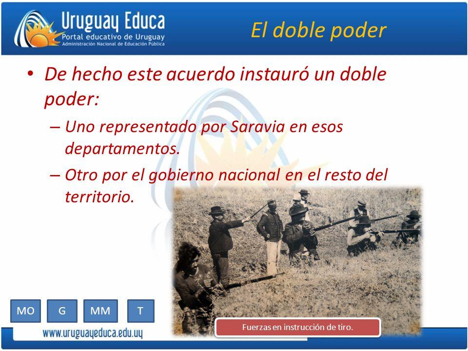 El doble poder De hecho este acuerdo instauró un doble poder: – Uno representado por Saravia en esos departamentos. – Otro por el gobierno nacional en