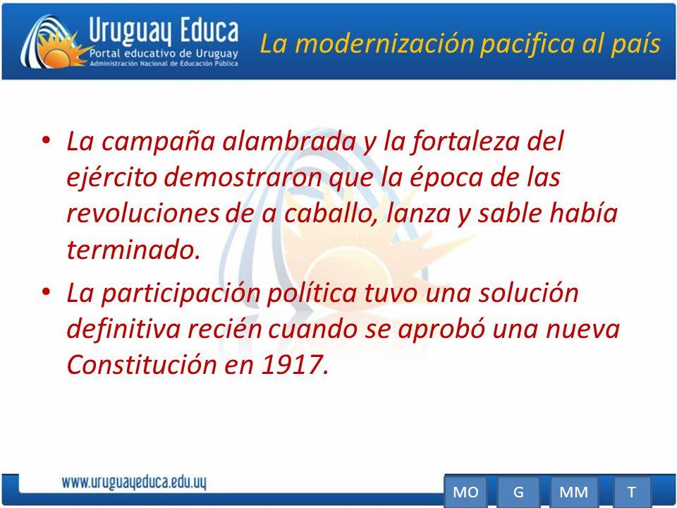 La modernización pacifica al país La campaña alambrada y la fortaleza del ejército demostraron que la época de las revoluciones de a caballo, lanza y