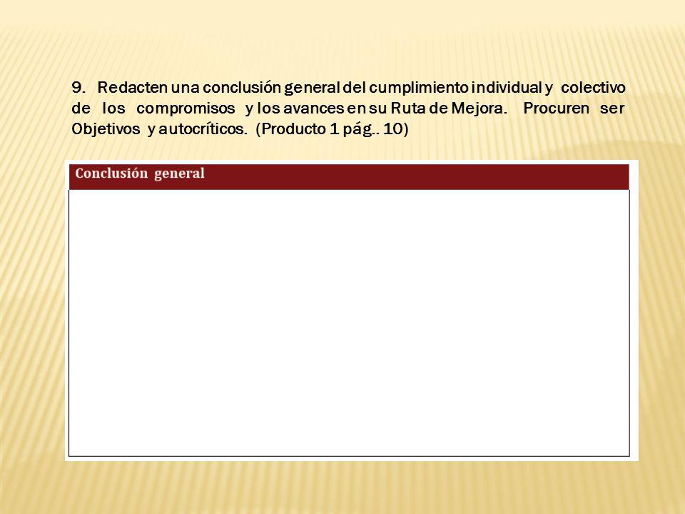 9.Redacten una conclusión general del cumplimiento individual y colectivo de los compromisos y los avances en su Ruta de Mejora.