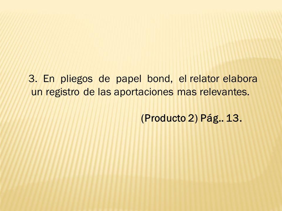 3.En pliegos de papel bond, el relator elabora un registro de las aportaciones mas relevantes.