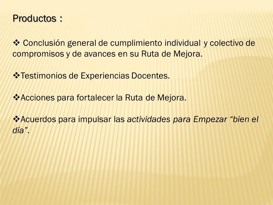 Productos : Conclusión general de cumplimiento individual y colectivo de compromisos y de avances en su Ruta de Mejora.