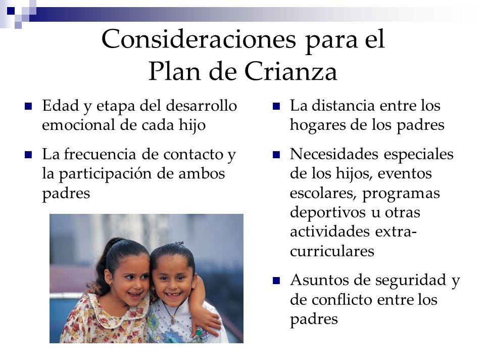 Consideraciones para el Plan de Crianza La distancia entre los hogares de los padres Necesidades especiales de los hijos, eventos escolares, programas