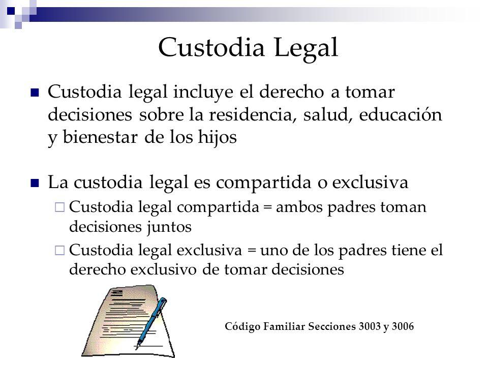 Custodia Legal Custodia legal incluye el derecho a tomar decisiones sobre la residencia, salud, educación y bienestar de los hijos La custodia legal e