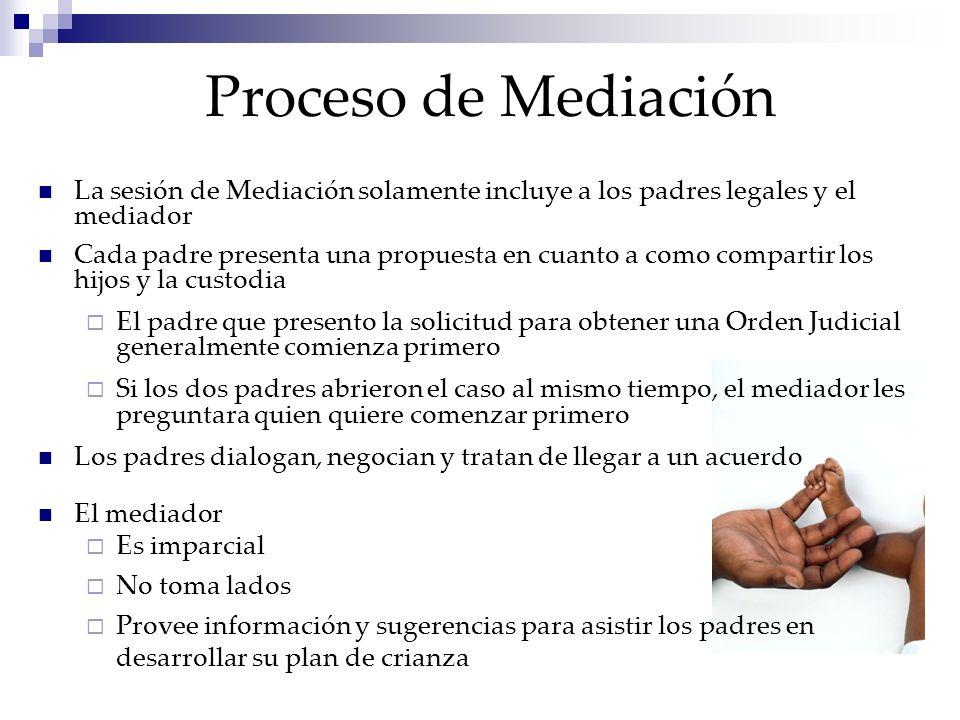 Proceso de Mediación La sesión de Mediación solamente incluye a los padres legales y el mediador Cada padre presenta una propuesta en cuanto a como co
